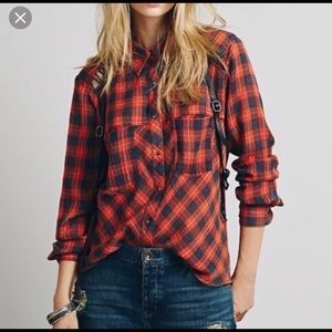 Free People Orange and blue cotton flannel